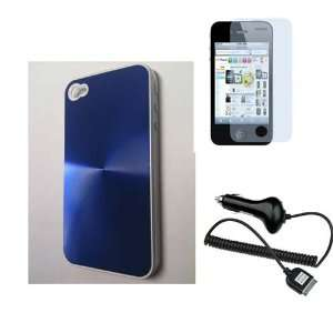 Finger Ripple Hard Case+ Screen Protector + Car Charger for iPhone 4G