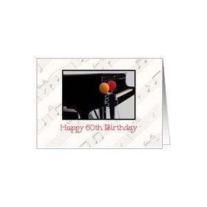 Happy 60th Birthday, photo of a piano with balloons Card: Toys & Games