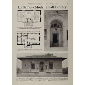 Library Building Floor Plan   Original Halftone Print: Home & Kitchen