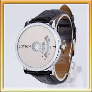 facial pointer steel dial+black leather strap watch GiftW0007 Beauty