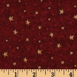 44 Wide Mans Best Friend Stars Burgundy Fabric By The