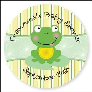 Frog   24 Round Personalized Baby Shower Sticker Labels Toys & Games