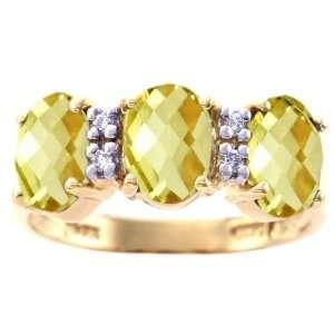 14K Yellow Gold Oval Gemstone Trio Ring Lemon Citrine/Briolette, size8