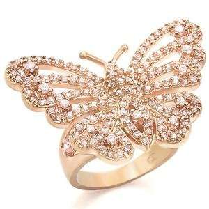 Butterfly Rose Cubic Zirconia Brass Rose Gold Plated Ring AM Jewelry