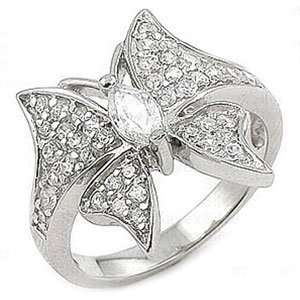 Sterling Silver Cubic Zirconia Butterfly Right Hand Ring (Nickel Free)