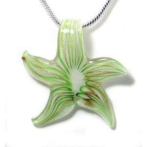 Star Fish Green & White Glass Pendant 2x2 Inches chain Not