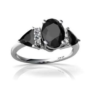 14K White Gold Oval Genuine Black Onyx 3 Stone Ring Size 6 Jewelry