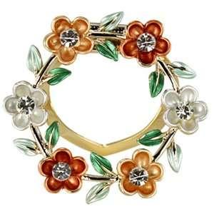 Daisy Ring Crystal Brooch Pin   Gold Dahlia Jewelry