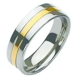 Titanium 14K Gold Plated 7mm Ring Size 6 Chisel Jewelry