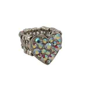 Silvertone Aurora Borealis Rhinestone Heart Stretch Ring Jewelry