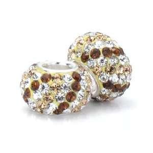Fascini Champagne Brown & White Stripe Swarovski Crystal Element Pave