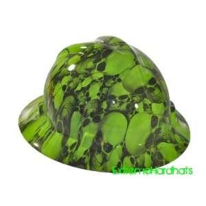 FULL BRIM Hard Hat custom hydro dipped , GREEN CARBON FIBER SUPER