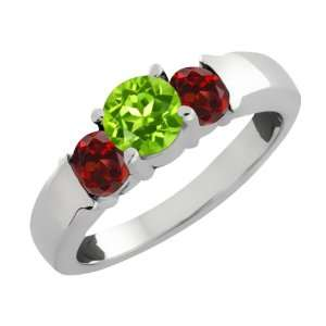 1.34 Ct Round Green Peridot and Red Garnet Sterling Silver