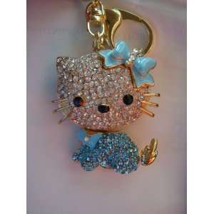Hello Kitty Keychain Purse Charm Austrian Crystals