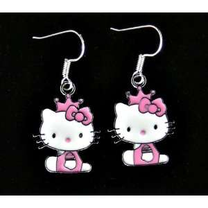 Cute pink & white sitting kitty enamel charm earrings w