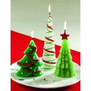 Set 3 Whimsical Christmas Tree Shaped Pillar Candles