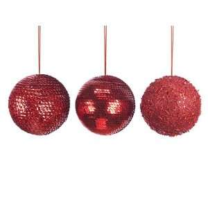 Club Pack of 24 Candy Crush Red Beaded & Sequined Ball Christmas