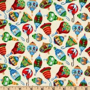 Tossed Ornaments Ecru Fabric By The Yard Arts, Crafts & Sewing