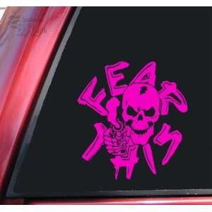 Fear This Skull With Gun Vinyl Decal Sticker   Hot Pink Automotive