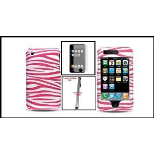For iPhone 3G 3GS Rubberized Hot Pink Zebra Image Pattern