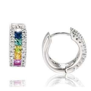 14k White Gold Rainbow Gem Diamond Huggie Earrings Jewelry