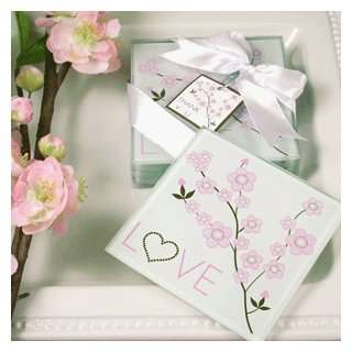 Cherry Blossom Love Coasters   Baby Shower Gifts & Wedding Favors (Set