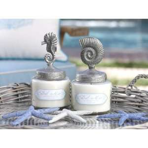 Del Mar Wax Filled Glass Jars With Sea Icon Design Lids