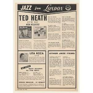 1956 Ted Heath Lita Roza Jazz London Records Print Ad (Music
