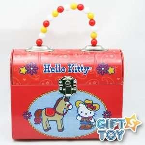 Hello Kitty Tin Box with Jewelry Beaded Handle Box   Cowgirl