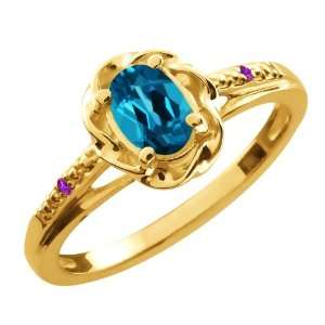 0.56 Ct Oval London Blue Topaz Purple Amethyst 10K Yellow