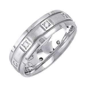Beverly Diamonds Mens 14K WHITE GOLD DIAMOND WEDDING BAND RING Round