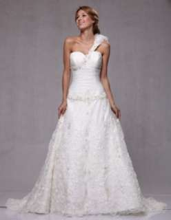 W75 Organza One Shoulder Beaded Embroidery Bridal Wedding Gown