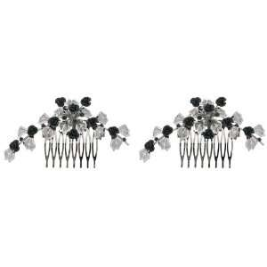 Metal Flowers with Crystals Hair Comb Set of 2  Sports