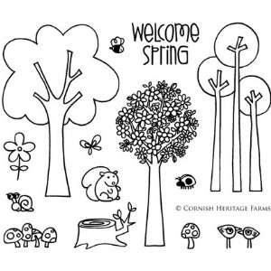 Spring Trees Cling Mounted Red Rubber Stamp Set from the