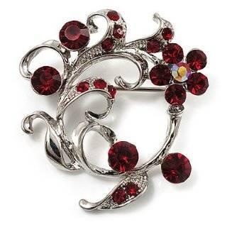 Beast Ruby Red Crystal Rhinestone Flower Outline Pin Brooch Jewelry