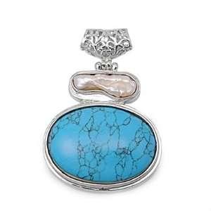 High Rhodium Plated Brass Turquoise & Shell Abalone Pendant Jewelry