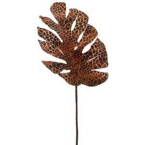 30 Silk Snake Skin Print Split Philodendron Leaf Spray  2 Tone Burnt