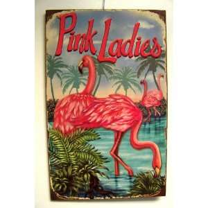 Pink Flamingo Ladies Tropical Wood Sign Plaque Art Home