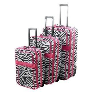 Piece Black/Hot Pink Zebra Print Suitcase Set Luggage