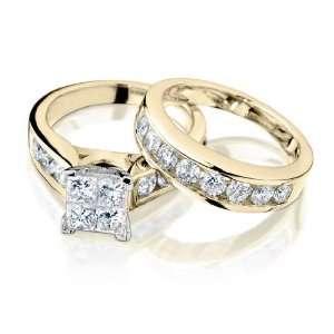 Princess Cut Diamond Engagement Ring and Wedding Band Set