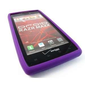 Purple Soft Silicone Rubber Skin Case For MOTOROLA Droid RAZR MAXX