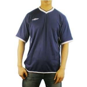 Mens Umbro navy blue v neck soccer warm up jersey. Very