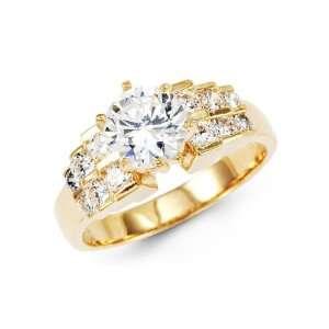 Wedding Ring CZ Cubic Zirconia 14k Yellow Gold Jewelers Mart Jewelry