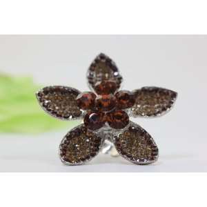 AMBER BROWN HANDMADE COCKTAIL FLOWER CRYSTAL PROM RING Everything
