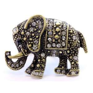 Elephant Golden Lucky Fourtune Crystal Cocktail Ring