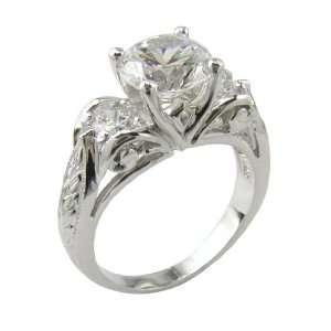 Cubic Zirconia Art Deco Inspired Three Stone Anniversary Ring Jewelry