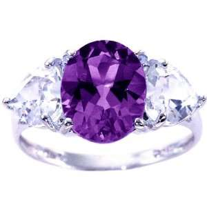 14K White Gold Large Oval and Heart Gemstone Ring Multi Amethyst White