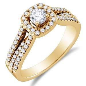 Gold Diamond Halo Engagement Ring   Solitaire Setting w/ Channel Set
