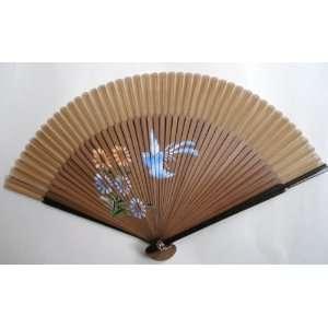 Chinese Art Painting Silk Bamboo Fan Flower Bird