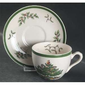 Spode Christmas Tree Green Trim Flat Cup & Saucer Set, Fine China
